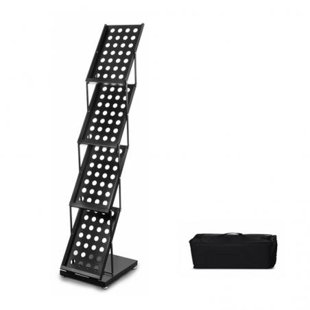 Stojak na ulotki lub foldery metalowy A4x4 (czarny)